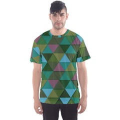 Green Geometric Men s Sports Mesh Tee