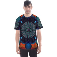 Ornament Fractal Pattern Background Men s Sports Mesh Tee