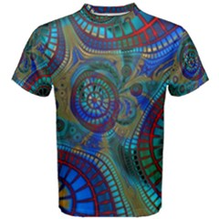 Fractal Abstract Line Wave Design Men s Cotton Tee