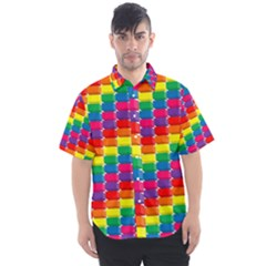 Rainbow 3d Cubes Red Orange Men s Short Sleeve Shirt by Sudhe