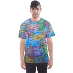 Globe World Map Maps Europe Men s Sports Mesh Tee