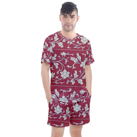 Floral Pattern Background Men s Mesh Tee And Shorts Set by Sudhe