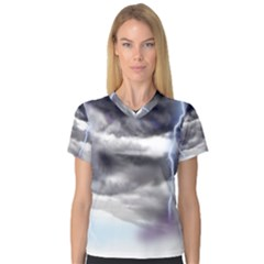 Thunder And Lightning Weather Clouds Painted Cartoon V Neck Sport Mesh Tee