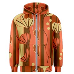 Amber Yellow Stripes Leaves Floral Men s Zipper Hoodie