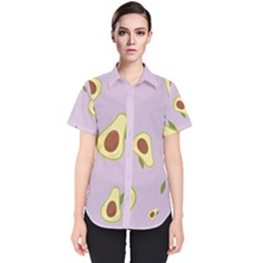 Avocado Green With Pastel Violet Background2 Avocado Pastel Light Violet Women s Short Sleeve Shirt by genx