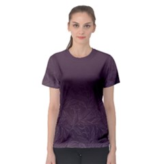 Organic Olive Leaves Pattern Hand Drawn Purple Red Wine Women s Sport Mesh Tee by genx
