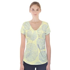 Spring Dahlia Print   Pale Yellow & Light Blue Short Sleeve Front Detail Top by WensdaiAmbrose