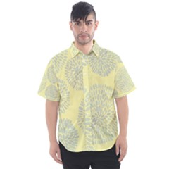Spring Dahlia Print   Pale Yellow & Light Blue Men s Short Sleeve Shirt by WensdaiAmbrose