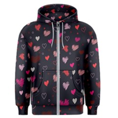 Heart Pattern Men s Zipper Hoodie by tarastyle