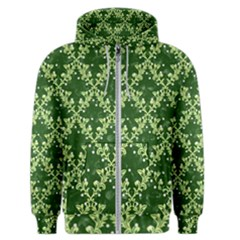 White Flowers Green Damask Men s Zipper Hoodie