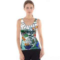Moon And Flowers Abstract Tank Top