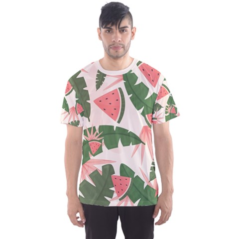 Tropical Watermelon Leaves Pink And Green Jungle Leaves Retro Hawaiian Style Men s Sports Mesh Tee by genx