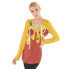 Pizza Topping Funny Modern Yellow Melting Cheese And Pepperonis Tie Up Tee by genx