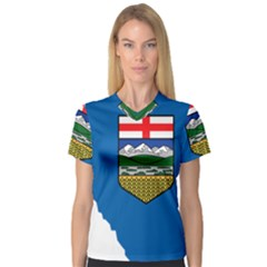 Flag Map Of Alberta V Neck Sport Mesh Tee