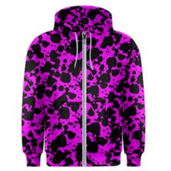 Black And Pink Leopard Style Paint Splash Funny Pattern Men s Zipper Hoodie by yoursparklingshop