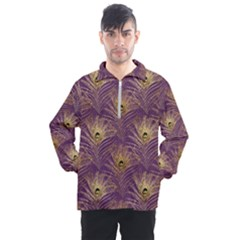 Peacock Glitter Feather Pattern Men s Half Zip Pullover by tarastyle