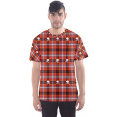 Plaid Pattern Red Squares Skull Men s Sports Mesh Tee