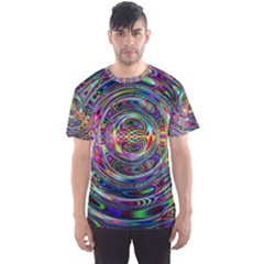 Wave Line Colorful Brush Particles Men s Sports Mesh Tee