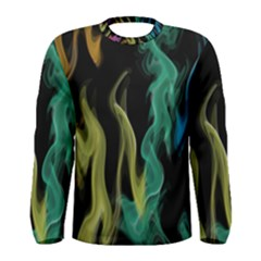 Smoke Rainbow Colors Colorful Fire Men s Long Sleeve Tee by HermanTelo