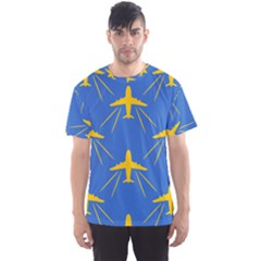 Aircraft Texture Blue Yellow Men s Sports Mesh Tee