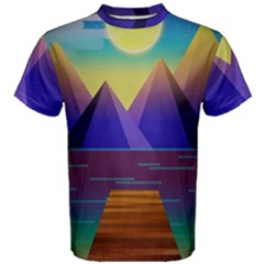 Jetty Landscape Scenery Mountains Men s Cotton Tee