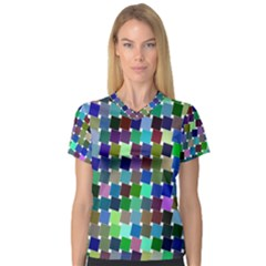 Geometric Background Colorful V Neck Sport Mesh Tee