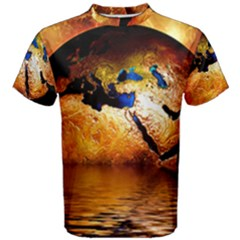 Earth Globe Water Fire Flame Men s Cotton Tee