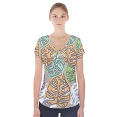 Pattern Leaves Banana Rainbow Short Sleeve Front Detail Top by HermanTelo