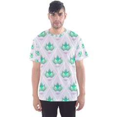 Plant Pattern Green Leaf Flora Men s Sports Mesh Tee