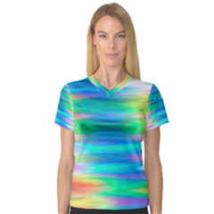 Wave Rainbow Bright Texture V Neck Sport Mesh Tee