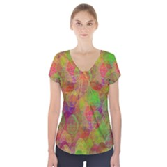 Easter Egg Colorful Texture Short Sleeve Front Detail Top by Jojostore