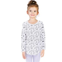 Music Notes Background Wallpaper Kids  Long Sleeve Tee by Bajindul