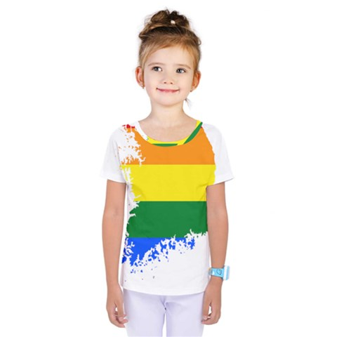 Lgbt Flag Map Of South Korea Kids  One Piece Tee by abbeyz71