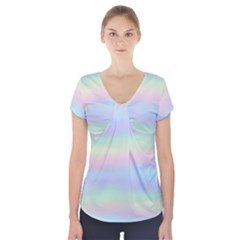 Pastel Fever Short Sleeve Front Detail Top by TimelessFashion