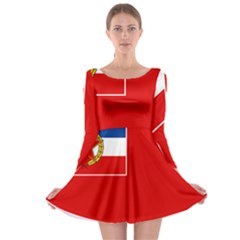 Naval Ensign Of Yugoslavia, 1949-1993 Long Sleeve Skater Dress by abbeyz71