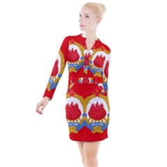 Naval Jack Of Yugoslavia, 1963-1993 Button Long Sleeve Dress by abbeyz71