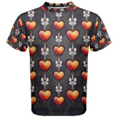 Love Heart Background Men s Cotton Tee