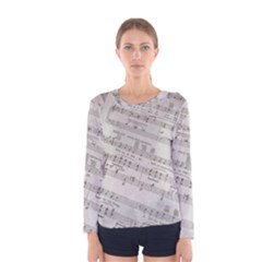 Sheet Music Paper Notes Antique Women s Long Sleeve Tee by Pakrebo