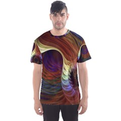 Fractal Colorful Rainbow Flowing Men s Sports Mesh Tee