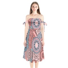 Print Shoulder Tie Bardot Midi Dress by Sobalvarro