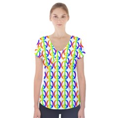 Retro Rainbow Gradient Peace Symbol Short Sleeve Front Detail Top by Pakrebo