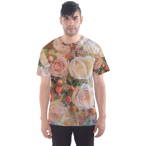Ackground Flowers Colorful Men s Sports Mesh Tee by Pakrebo