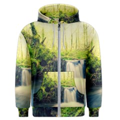 Waterfall River Nature Forest Men s Zipper Hoodie