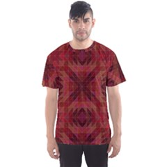 Maroon Triangle Pattern Seamless Men s Sports Mesh Tee