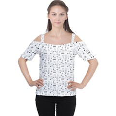 Music Notes Background Cutout Shoulder Tee by Bajindul