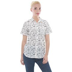 Music Notes Background Women s Short Sleeve Pocket Shirt by Bajindul