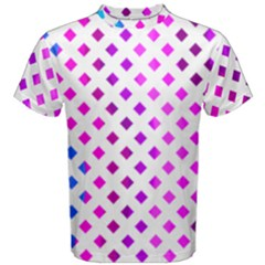 Lattice Aqua Pink Purple Men s Cotton Tee by AnjaniArt