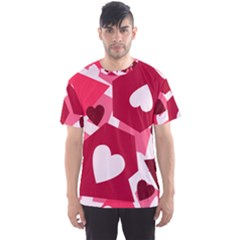 Pink Hearts Pattern Love Shape Men s Sports Mesh Tee