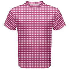 Gingham Plaid Fabric Pattern Pink Men s Cotton Tee