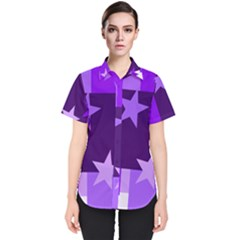 Purple Stars Pattern Shape Women s Short Sleeve Shirt